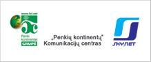 """""""Penkių kontinentų komunikacijų centro"""" ir """"Skynet"""" logotipas"""