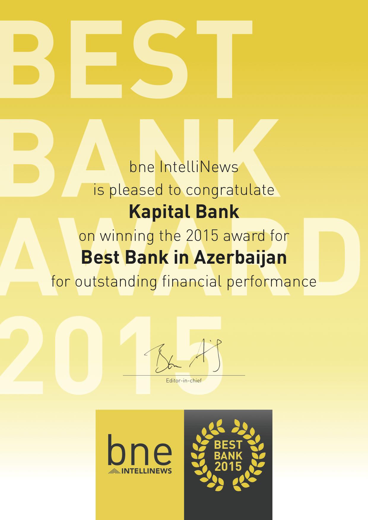 Kapital Bank назвали лучшим банком Азербайджана