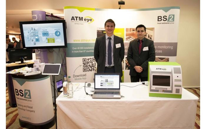 "BS/2 representatives Paulius Bucelis (L) and Artur Kurginian presented ""ATMeye.iQ""."