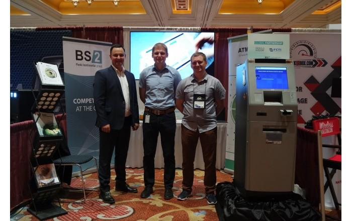 BS/2 atstovai (iš kairės) Emil Musayev, Vilius Gofmanas ir Sergej Pokusajev ATMIA 2018 konferencijoje