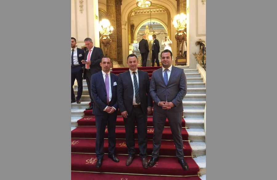 BS/2 Sales Manager Emil Musayev and his colleagues (from left to right) - BSKOM Director Ilgar Hasanov, Deputy Director Abas Abasov